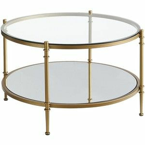 Antique Brass Glass Mirrored Round Coffee Table