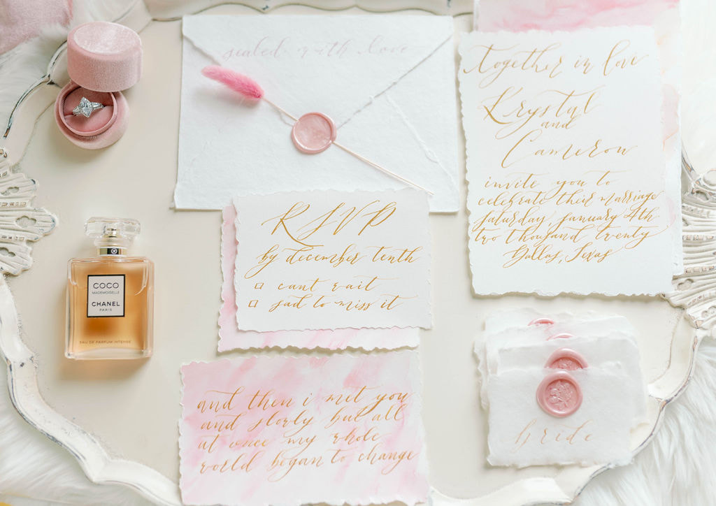 pink wedding, Pink watercolor stationary invitation suite, hand-torn place cards with wax seals, pink velvet ring box, custom calligraphy invitations, dallas wedding planners, dfw wedding planners, dfw wedding design, dallas wedding design, alexa elizabeth design