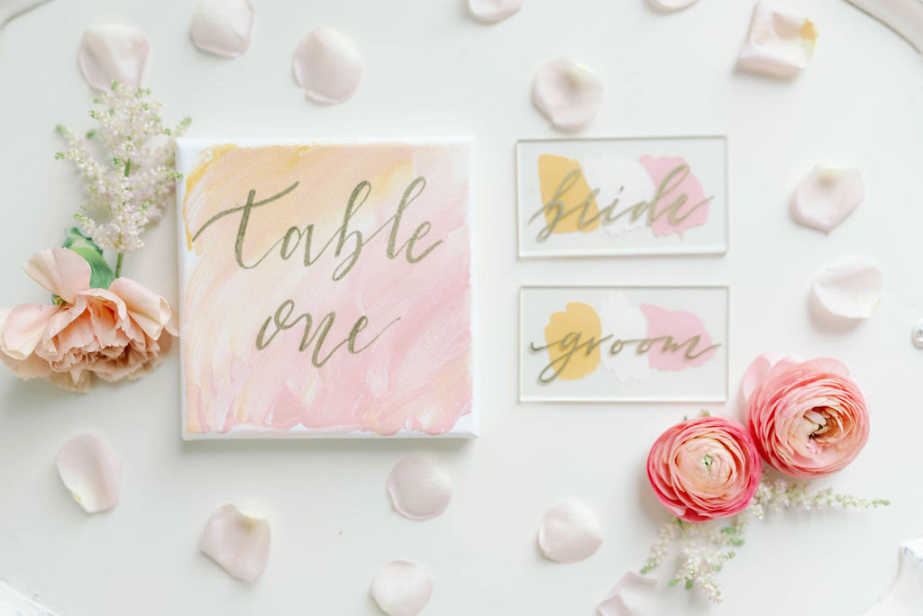 pink wedding, Watercolor table numbers, custom calligraphy table numbers, acrylic place cards, acrylic place settings, dallas wedding planners, dfw wedding planners, dfw wedding design, dallas wedding design, alexa elizabeth design